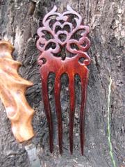 Авторский деревянный гребень -заколка