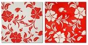 Эксклюзивная модульная картина маслом Красно - белая симфония,  диптих