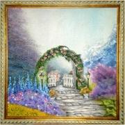 Картина маслом на холсте Сказочный сад на стену в раме
