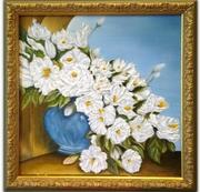 Белые цветы в вазе - картина маслом (натюрморт) в раме