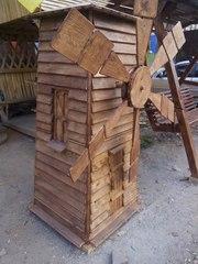 Мельница декоративная,  млин из дерева