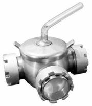 Кран молочный пробковый трехходовой Ду-50 AISI 304