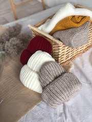 Шапка вязанная объемная зимняя теплая крупной вязки
