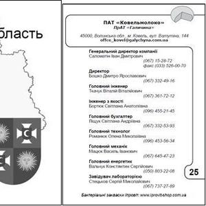 Телефонный справочник молочных заводов Украины