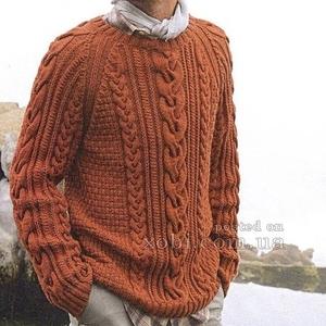 вязаный мужской свитер ручной работы