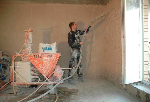 Механізоване штукатурення стін в м. Буча.