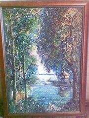 Картина, холст, масло - Дом на реке.