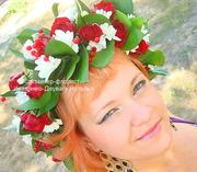 Венок на голову из живых цветов